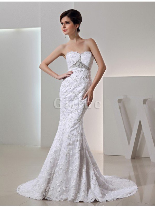 Mermaid Lace Zipper Up Sleeveless Court Train Wedding Dress