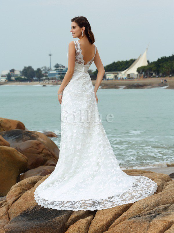 Princess Wide Straps Sleeveless Satin Empire Waist Wedding Dress
