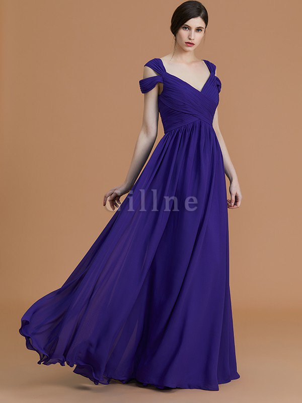 Natural Waist A-Line Ruched Floor Length Bridesmaid Dress