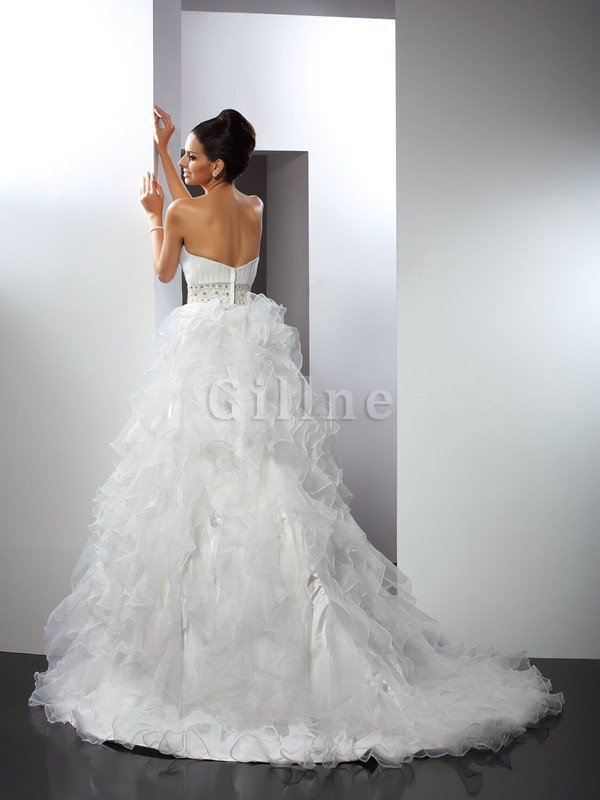 Ruffles Sweetheart Ball Gown Zipper Up Empire Waist Wedding Dress