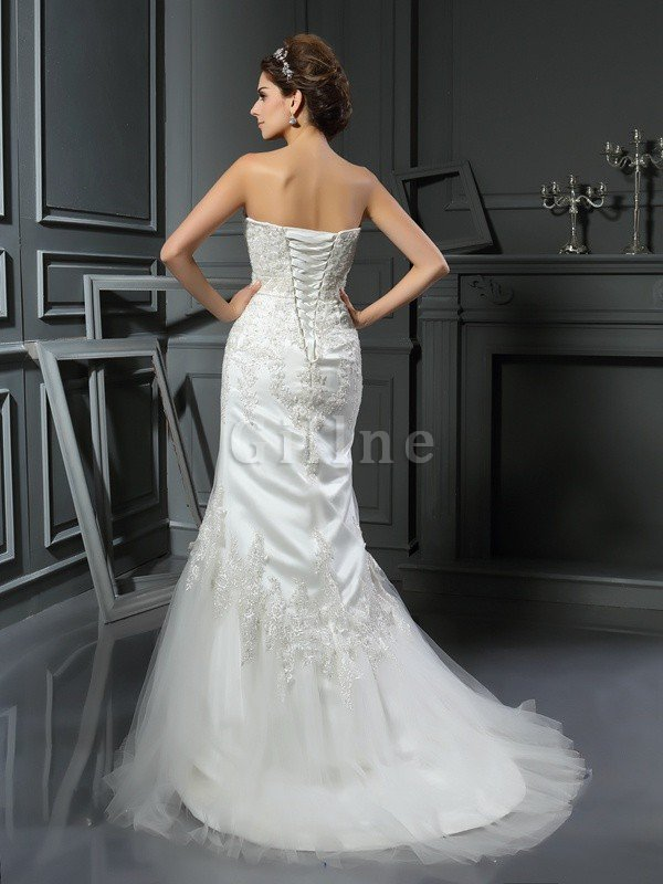Natural Waist Mermaid Long Lace-up Wide Straps Wedding Dress