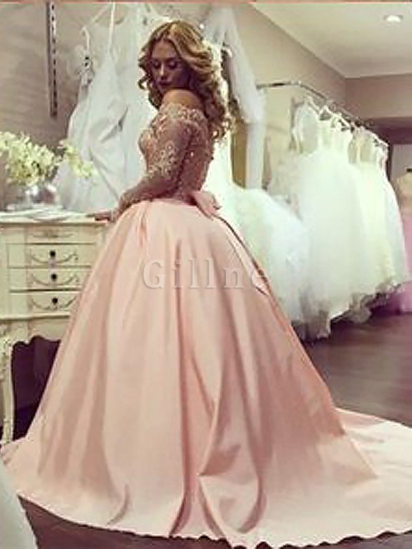 Long Sleeves Off The Shoulder Satin Ball Gown Natural Waist Evening Dress