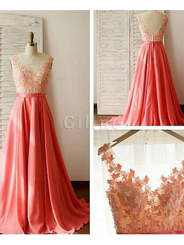 Chiffon A-Line Natural Waist Floor Length Sleeveless Bridesmaid Dress