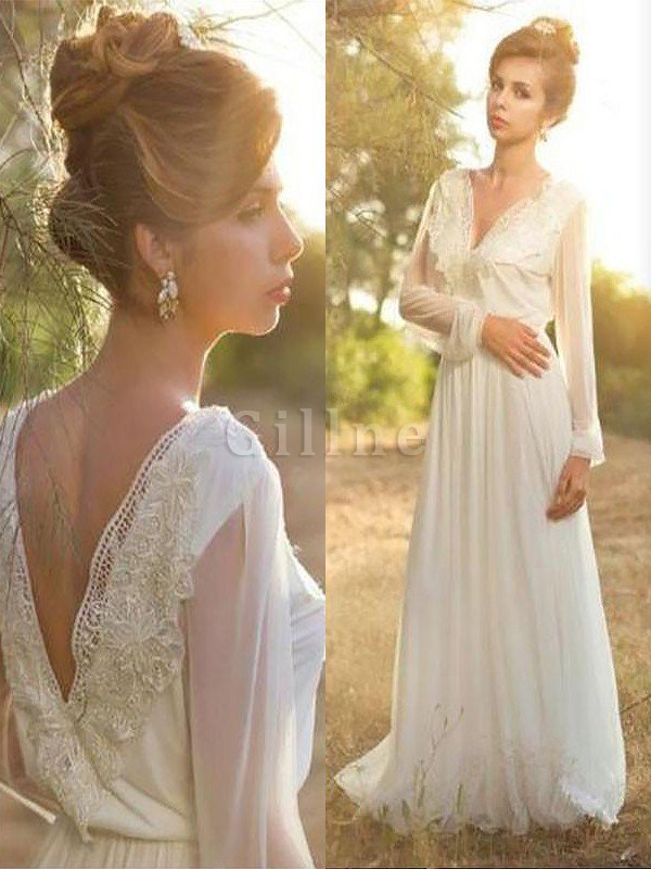 Natural Waist V-Neck Lace A-Line Sweep Train Wedding Dress