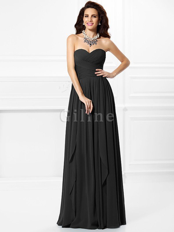 A-Line Zipper Up Long Floor Length Bridesmaid Dress