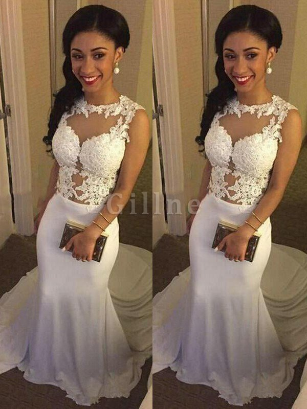 Scoop Satin Mermaid Sleeveless Natural Waist Wedding Dress