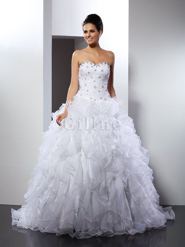 Empire Waist Ball Gown Court Train Sleeveless Satin Wedding Dress