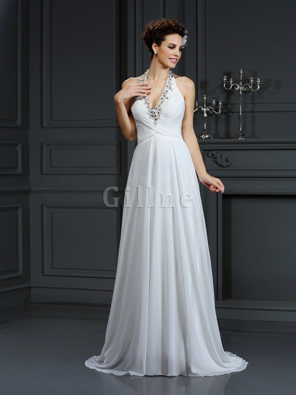 Chiffon Halter Court Train A-Line Beading Wedding Dress