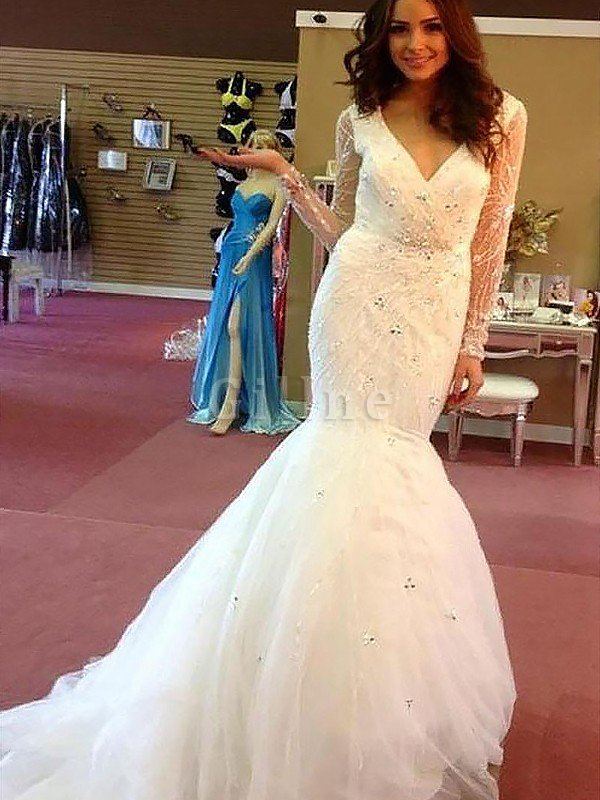 Tulle Long Sleeves Beading Court Train Natural Waist Wedding Dress