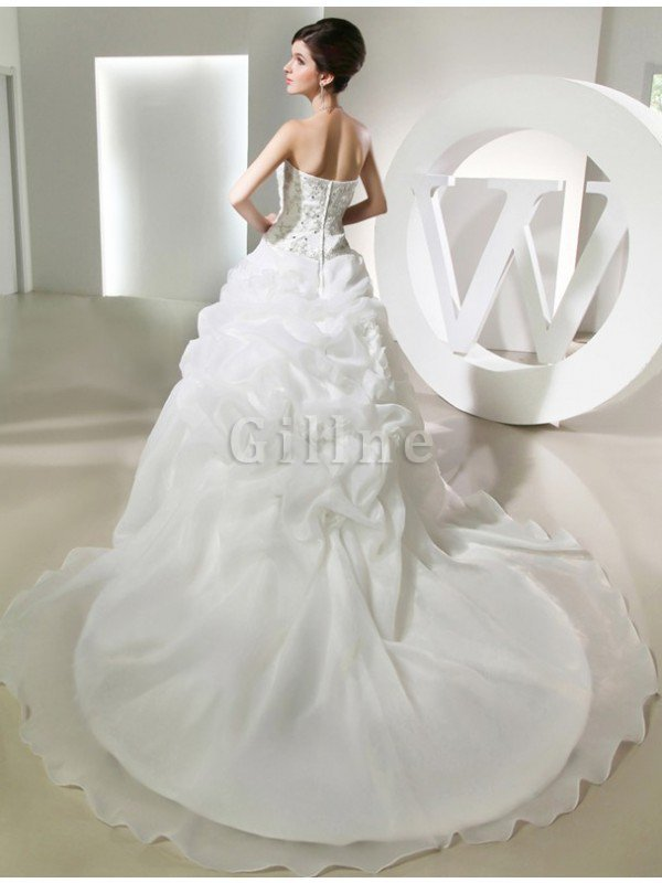 Sleeveless Long Ball Gown Chapel Train Empire Waist Wedding Dress