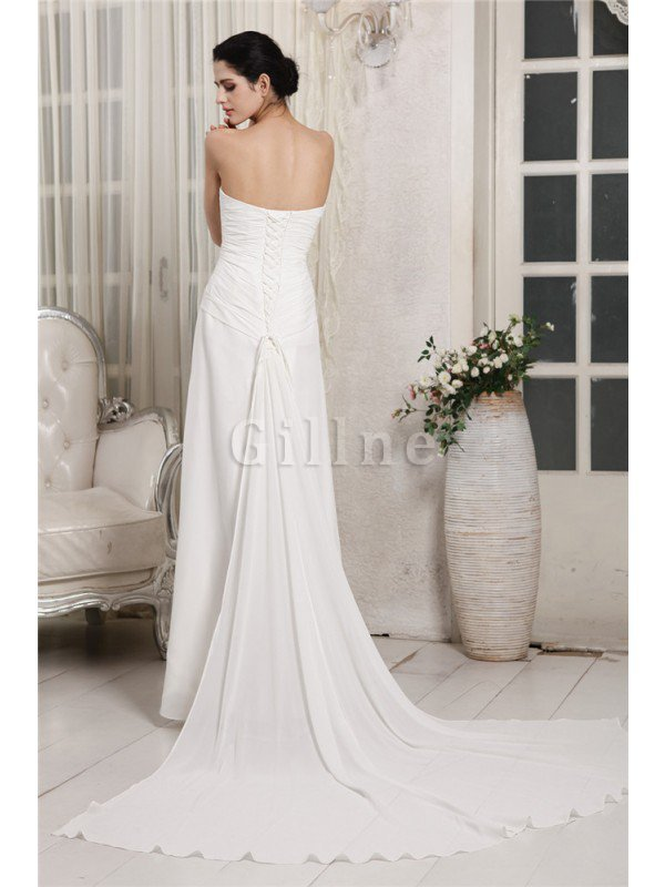 Chiffon Lace-up Ruffles Court Train Sheath Wedding Dress