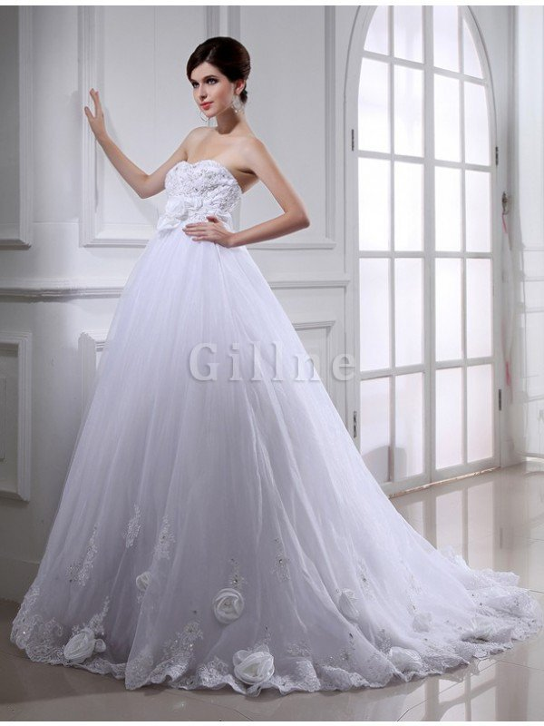 Flowers Lace-up Sashes Sleeveless Wedding Dress