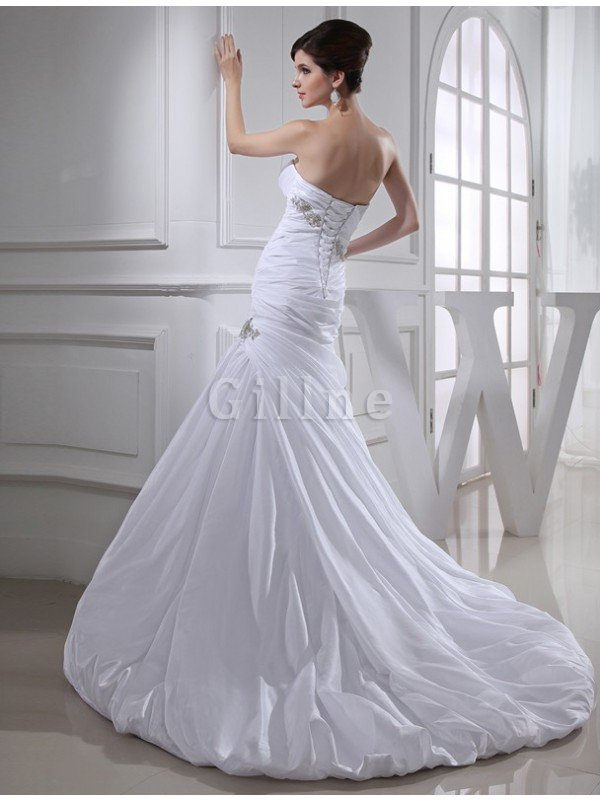 Long Strapless Mermaid Chapel Train Appliques Wedding Dress