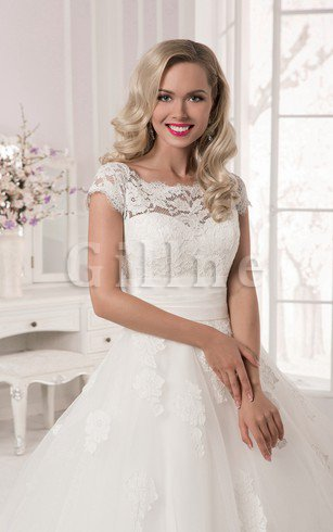 Natural Waist Capped Sleeves Lace Bateau Court Train Wedding Dress