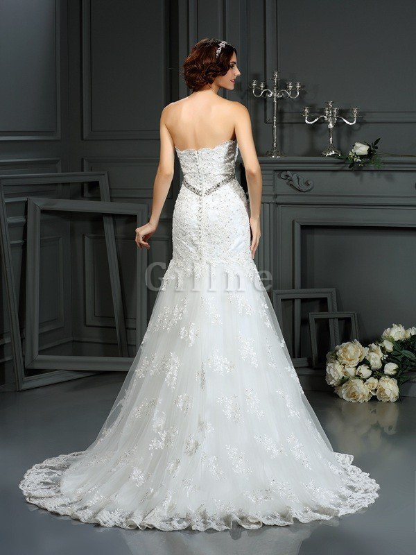 Zipper Up Mermaid Natural Waist Long Lace Wedding Dress