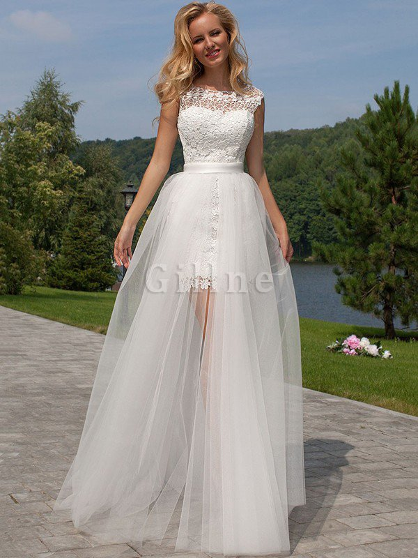 Scoop Floor Length Tulle Sheath Sleeveless Wedding Dress