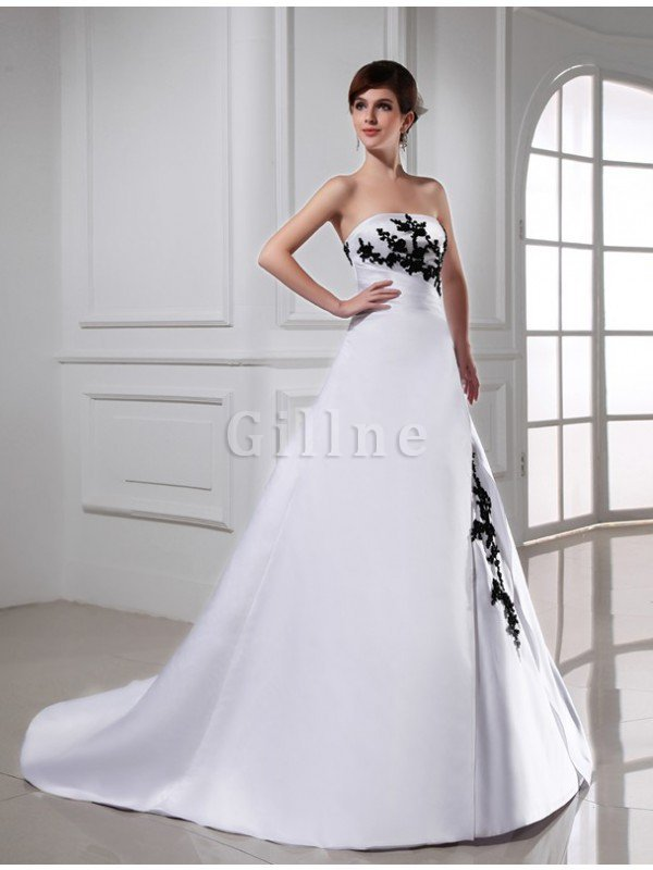 A-Line Appliques Sleeveless Lace-up Empire Waist Wedding Dress