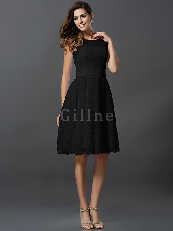 Knee Length Lace Zipper Up A-Line Bridesmaid Dress