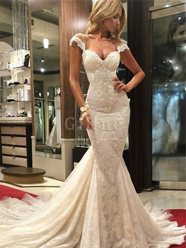 V-Neck Mermaid Natural Waist Sweep Train Lace Wedding Dress