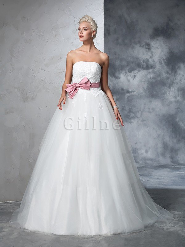 Empire Waist Court Train Accented Bow Ball Gown Strapless Wedding Dress