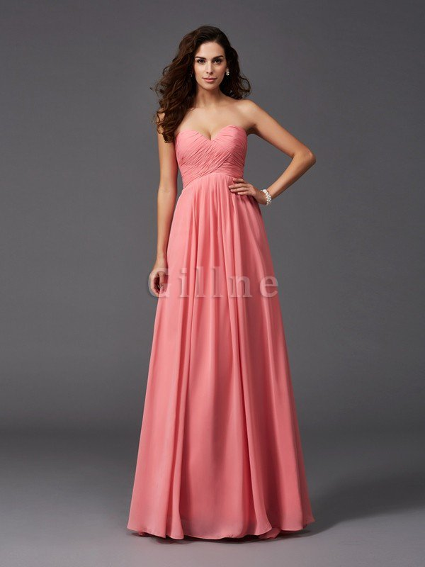 A-Line Sleeveless Chiffon Empire Waist Bridesmaid Dress