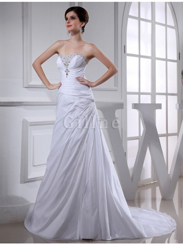 Princess Empire Waist Taffeta Long Lace-up Wedding Dress