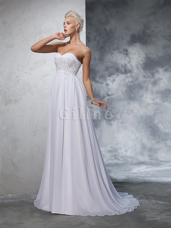 Sweetheart Empire Waist Chiffon Sleeveless Long Wedding Dress