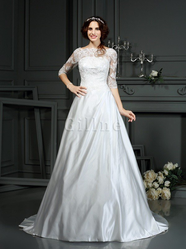 Long Court Train Natural Waist Princess Half Sleeves Wedding Dress