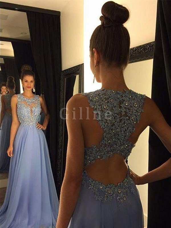 A-Line Scoop Sleeveless Appliques Chiffon Evening Dress