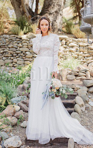 Simple Zipper Up Long Sleeves Informal & Casual Wedding Dress