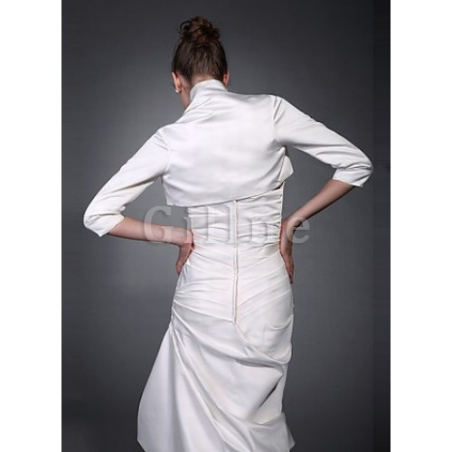 Modest White Taffeta Bolero Simple