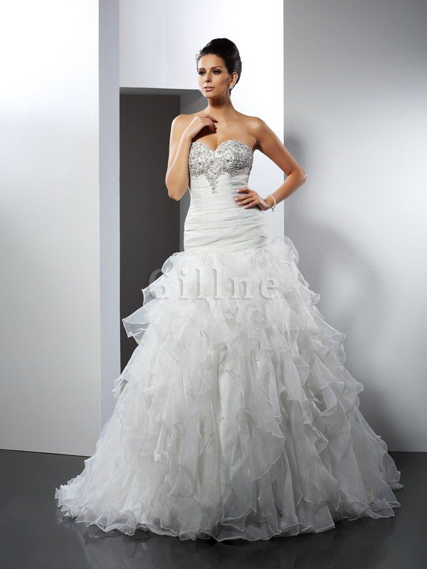 Tulle Sleeveless Ball Gown Long Ruffles Wedding Dress