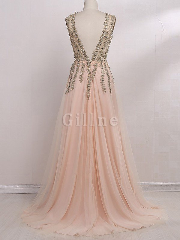 V-Neck Sleeveless Floor Length Tulle Beading Evening Dress