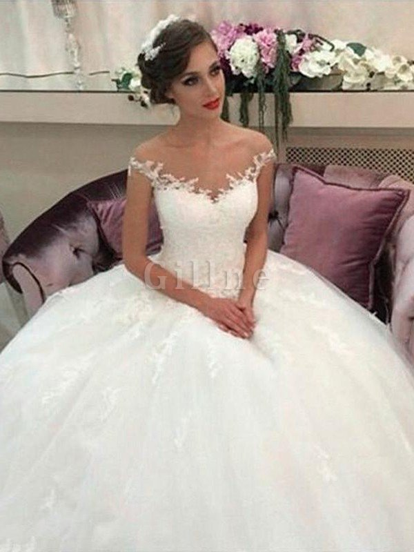 Sleeveless Natural Waist Tulle Off The Shoulder Ball Gown Wedding Dress