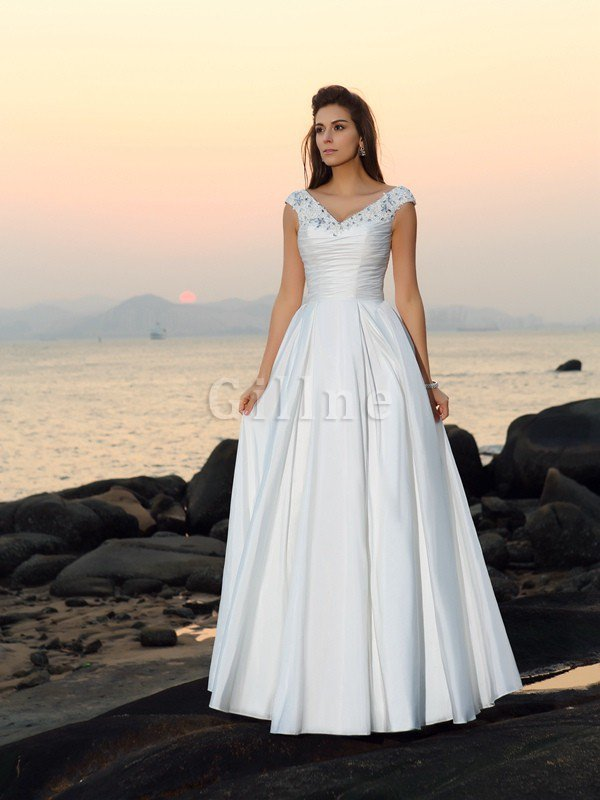 Floor Length A-Line Taffeta Long Sleeveless Wedding Dress