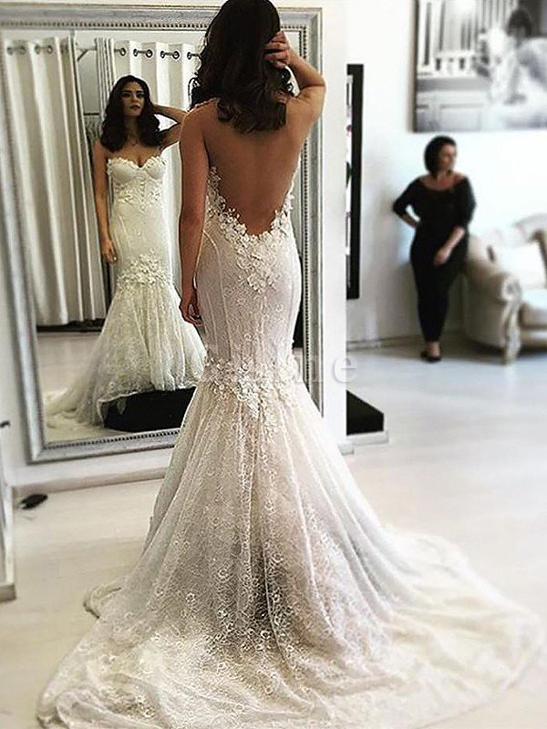 Sleeveless Natural Waist Sweetheart Mermaid Sweep Train Wedding Dress