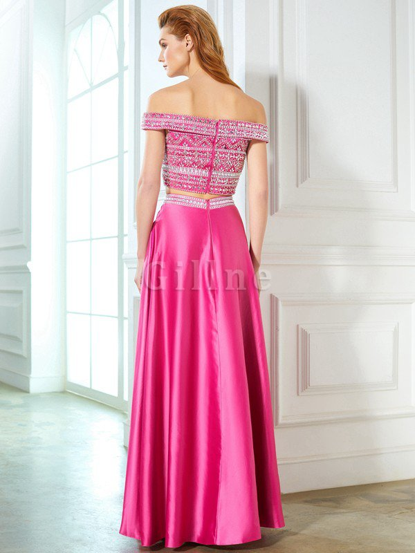 Satin Sleeveless Princess Natural Waist Beading Evening Dress
