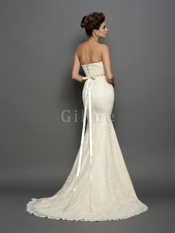 Sleeveless Chapel Train Accented Bow Long Empire Waist Wedding Dress