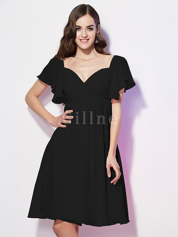 Ruffles Knee Length Short Sleeves Sweetheart Bridesmaid Dress