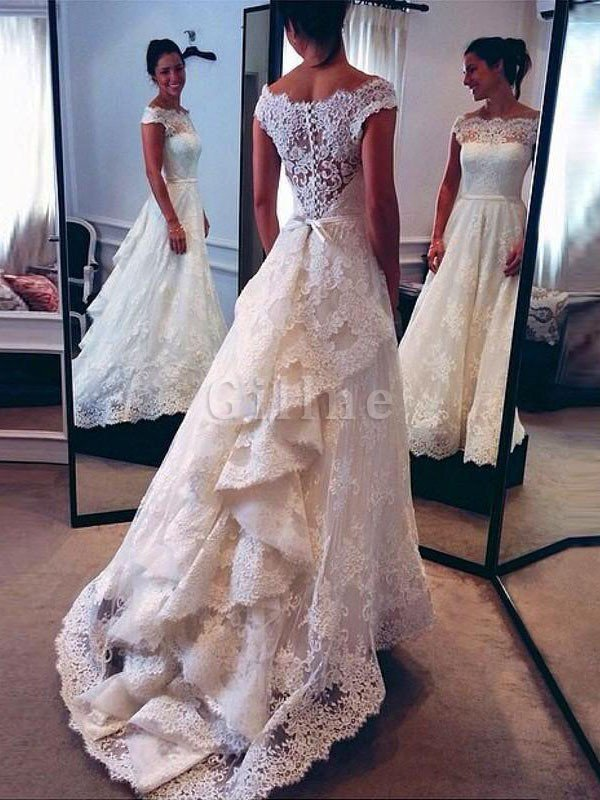 A-Line Natural Waist Court Train Scoop Lace Wedding Dress