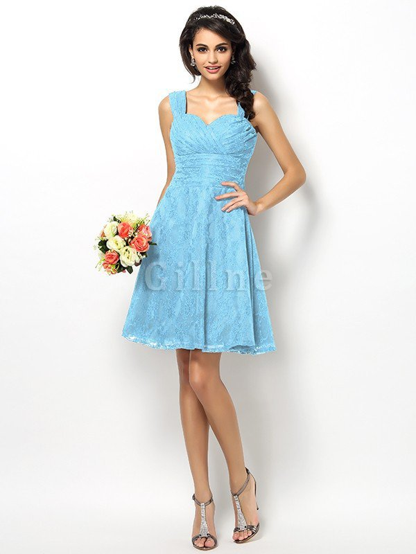 Wide Straps Short Sleeveless Natural Waist Satin Bridesmaid Dress