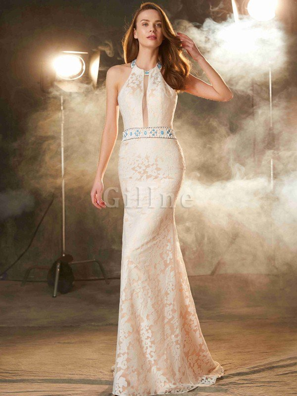 Sheath Floor Length Natural Waist Sleeveless Zipper Up Prom Dress