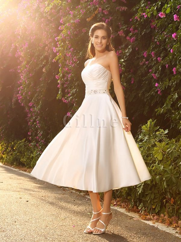 Short Zipper Up Empire Waist Sleeveless Satin Wedding Dress