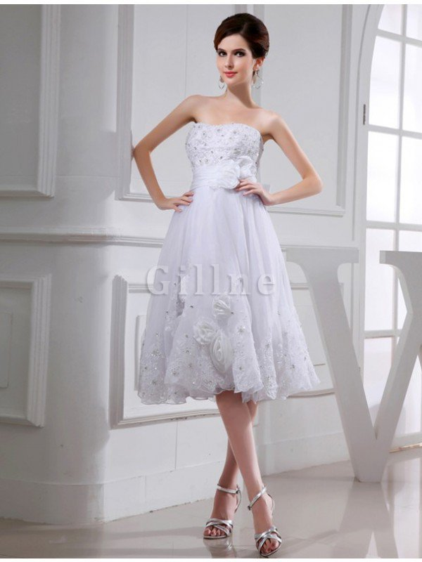 Beading Appliques Short Empire Waist Organza Wedding Dress