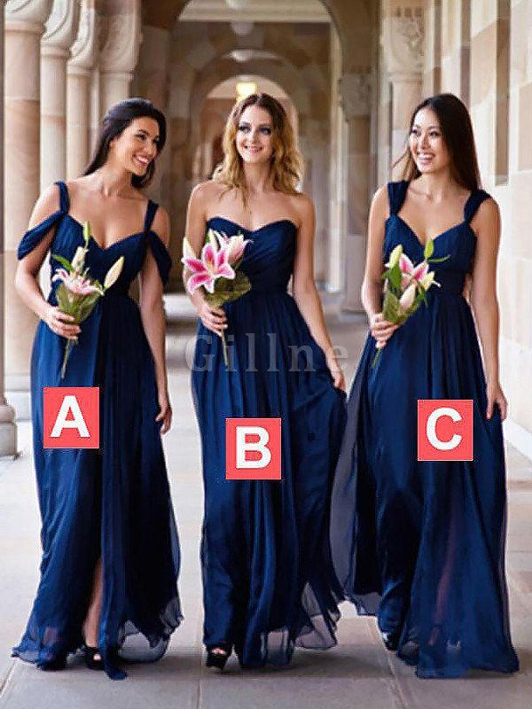 Natural Waist A-Line Sleeveless Chiffon Bridesmaid Dress