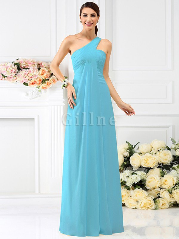 Zipper Up Long Floor Length A-Line Bridesmaid Dress