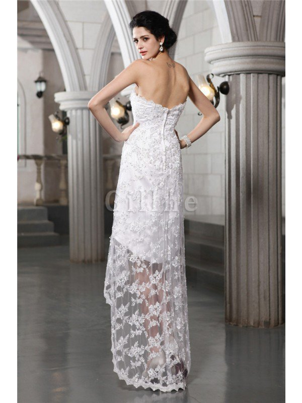 Lace Beading High Low Strapless Sheath Wedding Dress