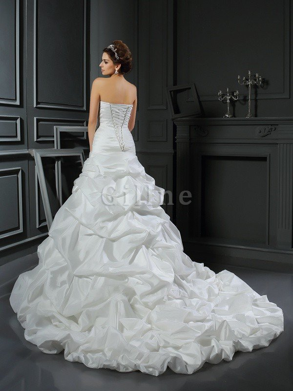 Sleeveless Flowers Long Ball Gown Lace-up Wedding Dress