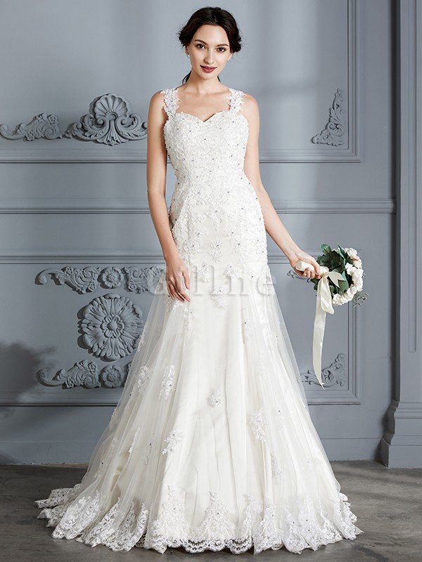Mermaid Sweetheart Sleeveless Lace Court Train Wedding Dress