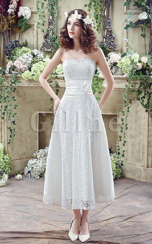 Tea Length Demure Flowers Chic & Modern Rectangle Wedding Dress
